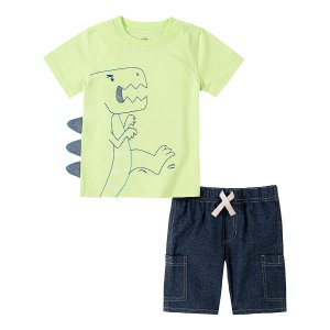 Kids HeadquartersLight Green Dino Spike Crewneck Tee & Dark Wash Denim Shorts - Infant, Toddler & Boys