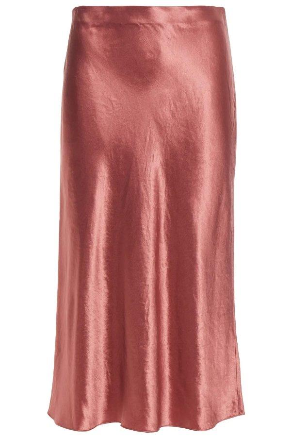Crinkled-satin 丝质半裙