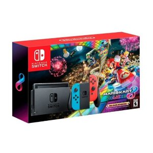 Nintendo - Switch with Mario Kart 8 Deluxe Console Bundle - Neon Blue/Red