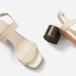 Everlane晒货同款粗跟一字带凉鞋