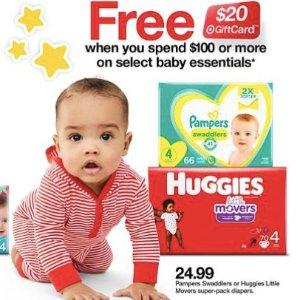满$100送$20礼卡Target 婴儿尿布湿巾、洗护用品、辅食等促销