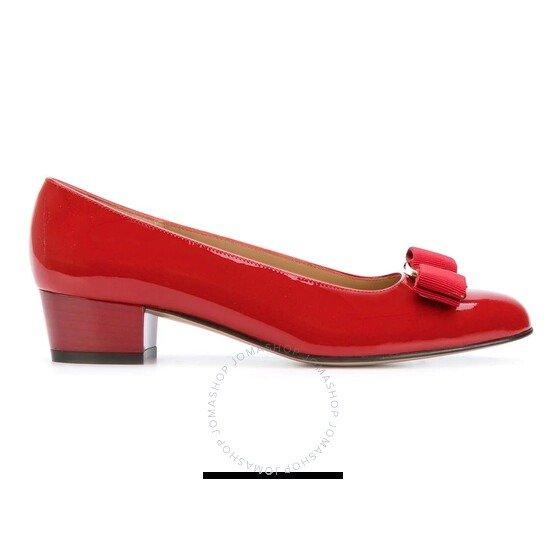 正红色蝴蝶结鞋