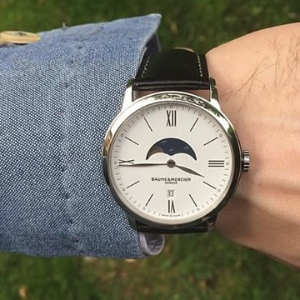 Today Only: $675BAUME ET MERCIER Classima White Dial Moonphase Men's Watch MOA10219