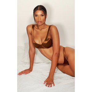 PrettyLittleThingChocolate Satin Underwired Panelled Bra