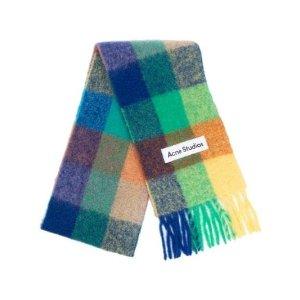 Acne Studios格纹马海毛混纺围巾