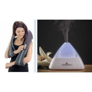OPEN BOX InstaShiatsu+ Neck & Back Massager & nuvoEssence Essential Oil Aroma Diffuser Bundle