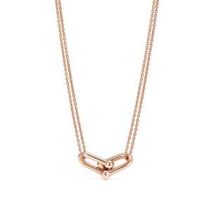 喜结莲李同款!Tiffany HardWear 18k黄金双链条项链