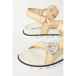 Roger VivierSlidy Espa crystal-embellished raffia sandals