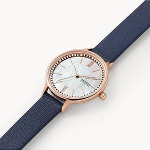 Anita Three-Hand Blue Leather Watch