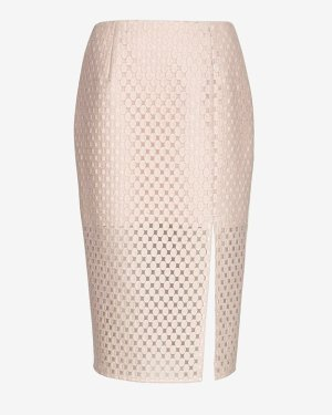 Exclusive for Intermix For Intermix Embroidered Lace Pencil Skirt Pink | Where to buy & how to wear