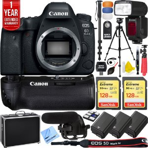 Canon EOS 6D Mark II Full-Frame DSLR Camera&Pro Memory Triple Battery Recording Bundle