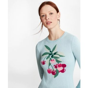 Brooks BrothersCherry-Patterned Silk-Cashmere Sweater - Brooks Brothers
