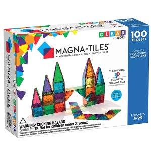 $89.99(原价$119.99) 极少打折速抢!Magna-Tiles半透明彩色磁性建筑玩具100片装