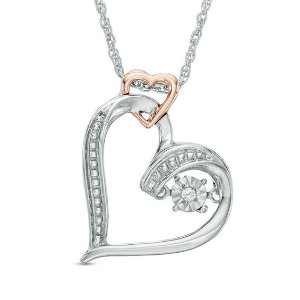 Unstoppable Love™ Diamond Accent Double Heart Necklace in Sterling Silver and 10K Rose Gold|Zales
