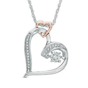 爱心钻石项链