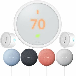 Google Nest Learning Thermostat E + Nest Mini + 2x Deco 智能插座