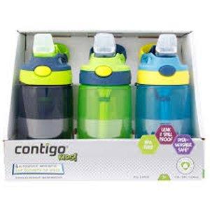 摔不坏+1件包税直邮中国最后一天:¥144收Contigo 儿童吸管杯414mlX3  男孩版
