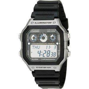 CasioMen's AE-1300WH-8AVCF Illuminator Digital Display Quartz Black Watch