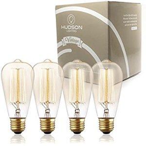 TOP RATED Hudson Lighting Vintage Light Antique Style Edison Bulb - 4 Pack - ST64 - Squirrel Cage Filament - 230 Lumens - 60 Watt - Dimmable - E26 Bulb Base - Edison Light Bulbs- Vintage Light Bulb - - Amazon.com