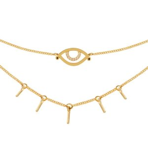 Astrid & MiyuEvil Eye Choker in Gold