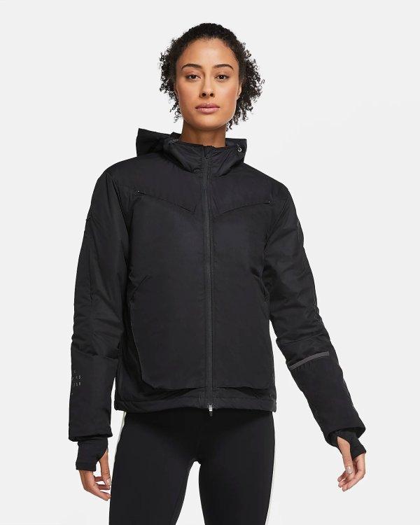 女士黑色跑步夹克