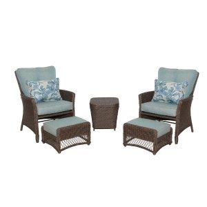 Hampton BayFallsview 5-Piece Wicker Conversation Set with Blue Olefin Cushions