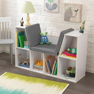 Amazon KidKraft Bookcase with Reading Nook Toy, White