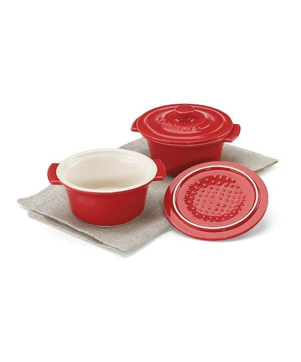 红白迷你陶瓷锅 2件套