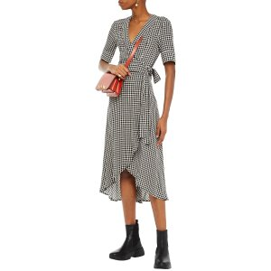 GanniAsymmetric 格纹连衣裙