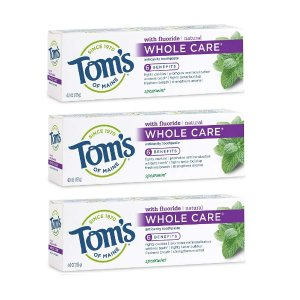 Extra 15% OffTom's of Maine Whole Care Toothpaste, Toms Toothpaste, Natural Toothpaste, Spearmint, 4.0 Ounce, 3-Pack