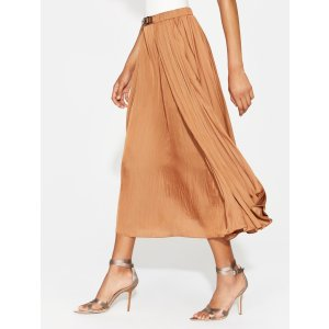 HalstonBELT DETAIL SATIN MIDI SKIRT