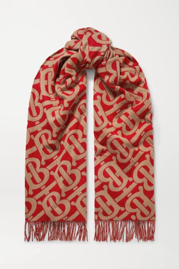 Fringed 羊绒围巾