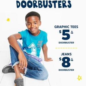 $8起+用Fun Cash变相6折+包邮最后一天:OshKosh BGosh 儿童牛仔裤 Doorbuster 优惠 66个尺寸可选 0-14岁都有