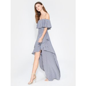 HalstonStriped Off Shoulder Gown