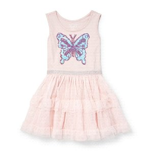 6cb258357db The Children s PlacePrice Drop!Toddler Girls Sleeveless Flip Sequin  Butterfly Graphic Knit To Woven Tutu