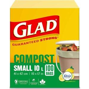 $12.8(原价$14.99)Glad 100%可降解 柠檬味 除异味 10升厨房用垃圾袋 100只