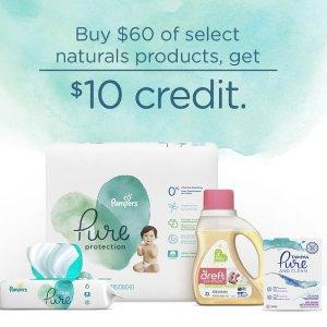 满60元送10元礼卡Amazon 天然系列婴儿尿布、洗衣液、女性卫生用品等特卖