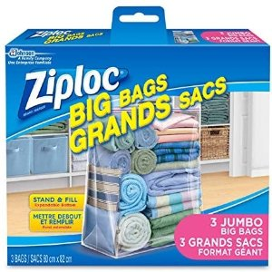 8.49(原价$11.29)限今天:Ziploc 超大号透明储物袋3个装 化妆品收纳袋5个$6.49