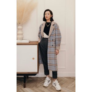 Petite StudioLeslie大衣- Blue Plaid