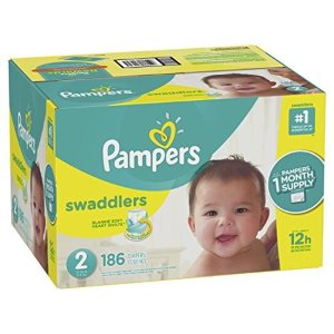 送湿巾392抽+$5 礼卡Pampers帮宝适 Swaddlers 尿不湿超大箱热卖,6种型号选