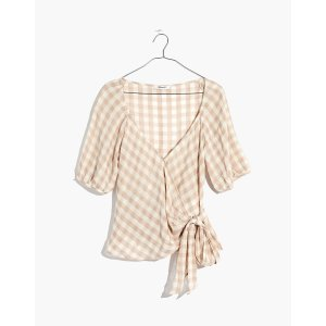MadewellSweetheart Wrap Top in Gingham Check