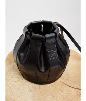 LOW CLASSIC Leather Drawstring Small Bag - Black | W Concept