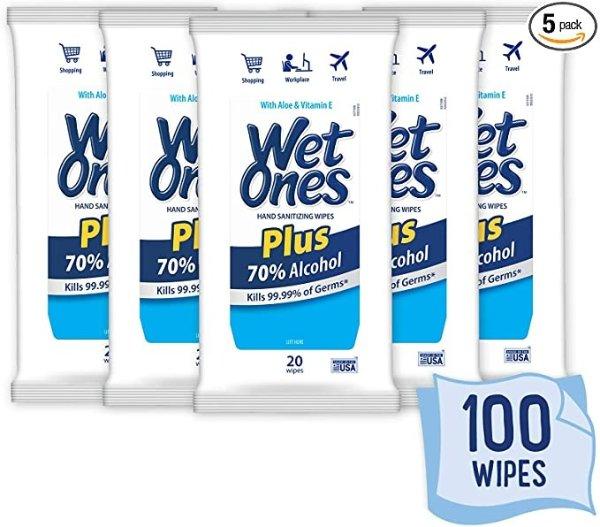 Wet Ones 70%酒精消毒湿巾 20片/包 x 5包