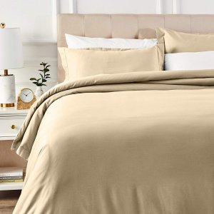 $16.09AmazonBasics 400 Thread Count Cotton Duvet Cover Bed Set with Sateen Finish - King, Beige