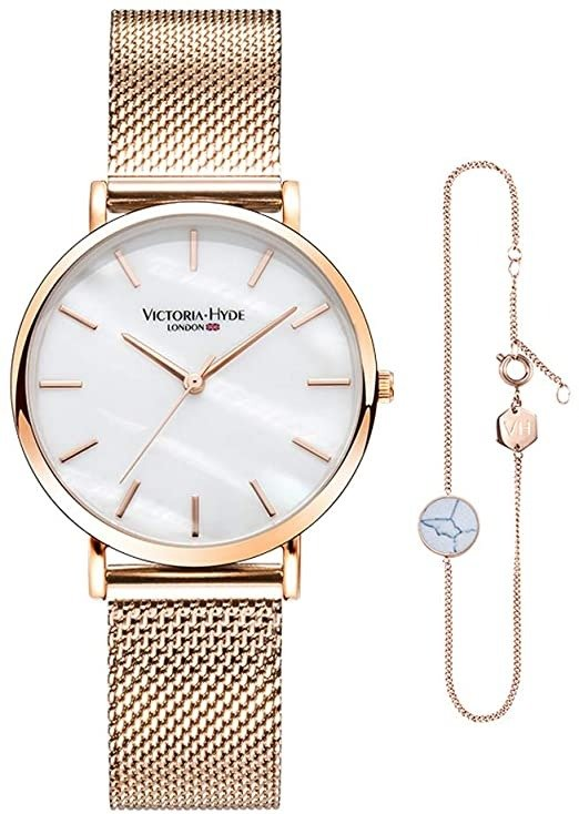 玫瑰金钢链腕表