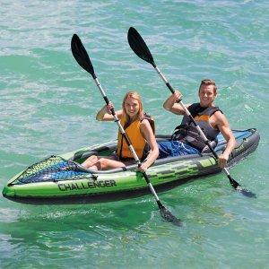 $165.04(原价$282)近期好价:Intex 挑战者 K2 Kayak 2人充气独木舟套装