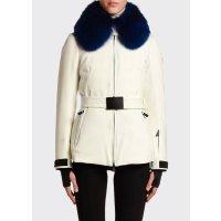 Moncler Ecrins Fur-Collar Belted 羽绒服