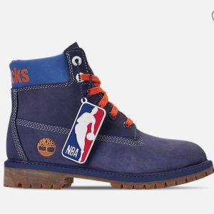$55+包邮 原价$110Timberland x NBA 合作款尼克斯队男童靴