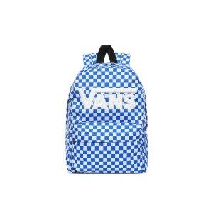 Vans蓝色logo棋盘格双肩包