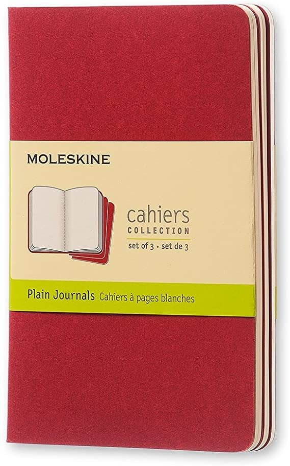 - Cahier Notebook - Set of 3 - Plain - Pocket - Cranberry Red, (CH113)
